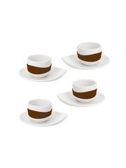 PO: espresso šálek s podšálkem list, hnědá 4ks